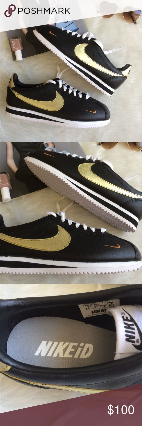 NIKE CORTEZ CUSTOM iD BLACK GOLD WOMENS SHOES Brand new without box Nike Shoes Sneakers