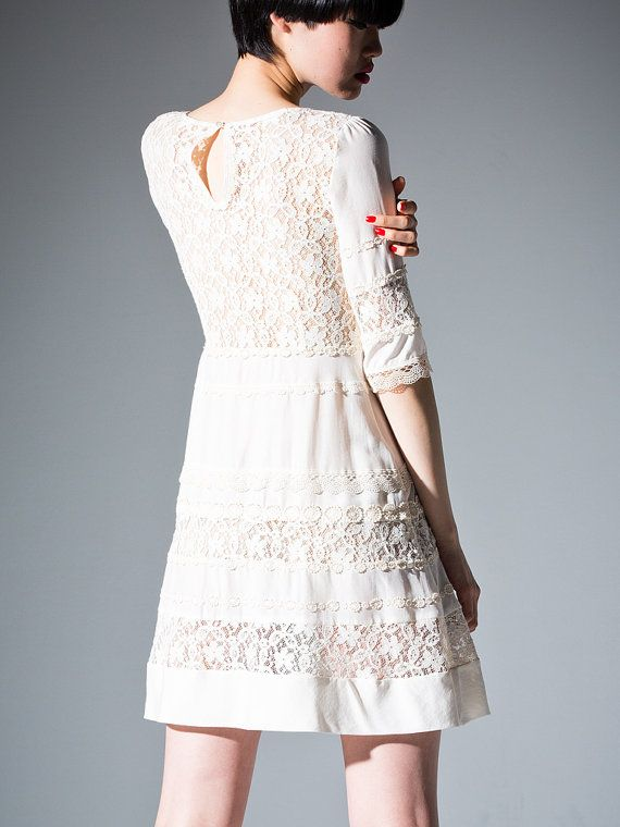 Border lace dress  off white  // cocktail dress // by DRESSbyEnlee