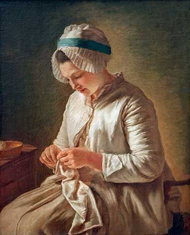 Young Woman Doing Needlework     Francoise Duparc