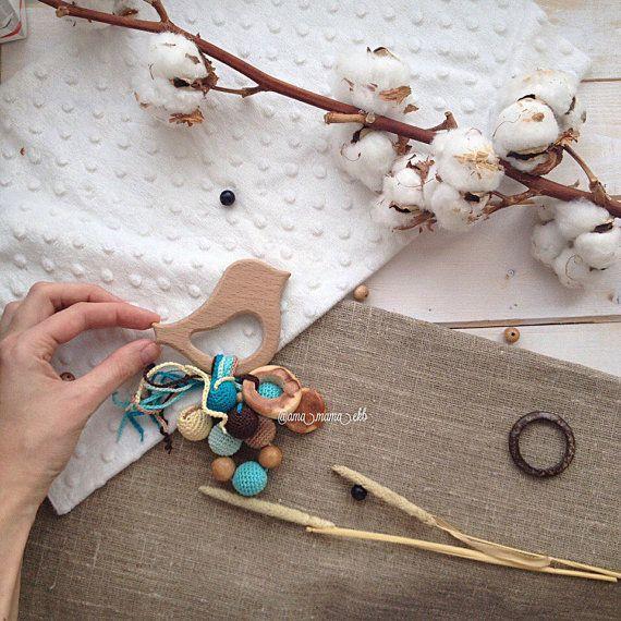 Wooden Baby Rattle Organic Crochet Toy Waldorf от AmaMamaShop