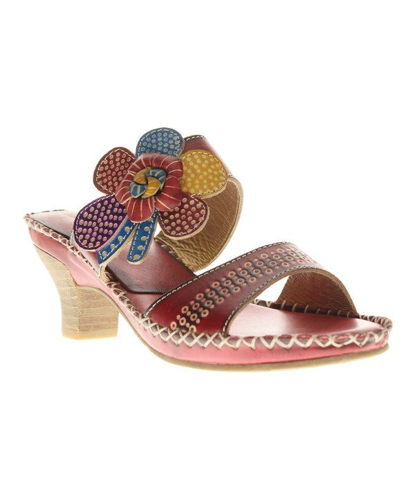 L'Artiste by Spring Step Red Oceanside Leather Sandal