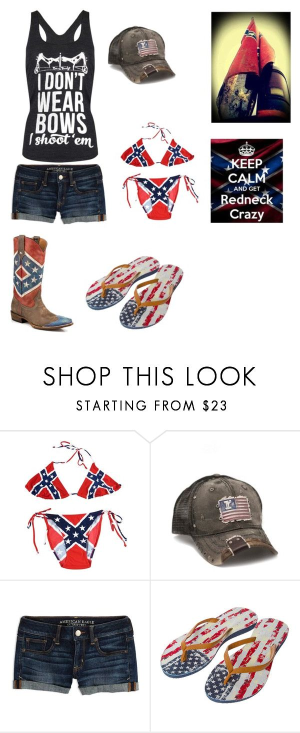 """Summer time redneck crazy"" by lgrabow ❤ liked on Polyvore featuring Rustix and American Eagle Outfitters"
