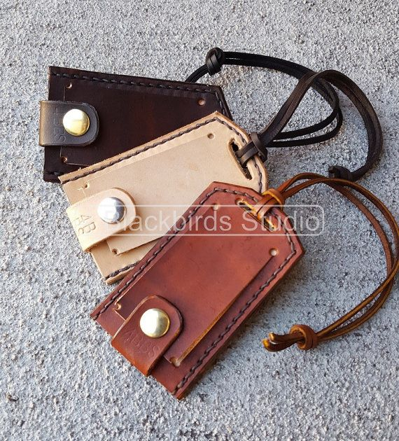 Leather Luggage Tags-Luggage Tags-Handmade by 4BlackbirdsStudio