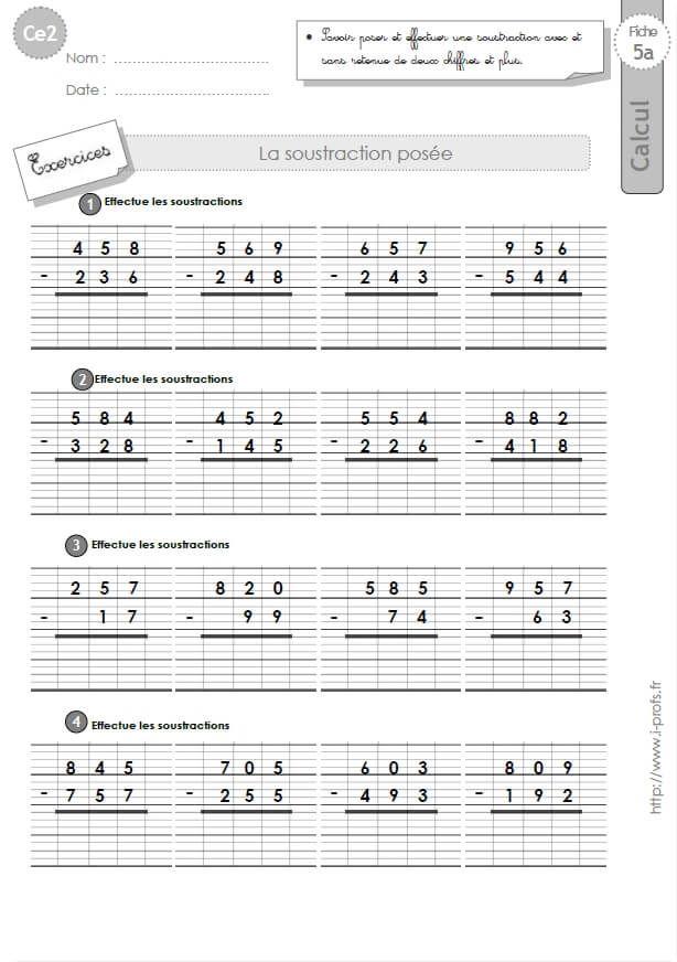 CE2: EXERCICES corrigés Technique opératoire de la Soustraction | Calcul ce2, Mathématiques ce2, Ce2