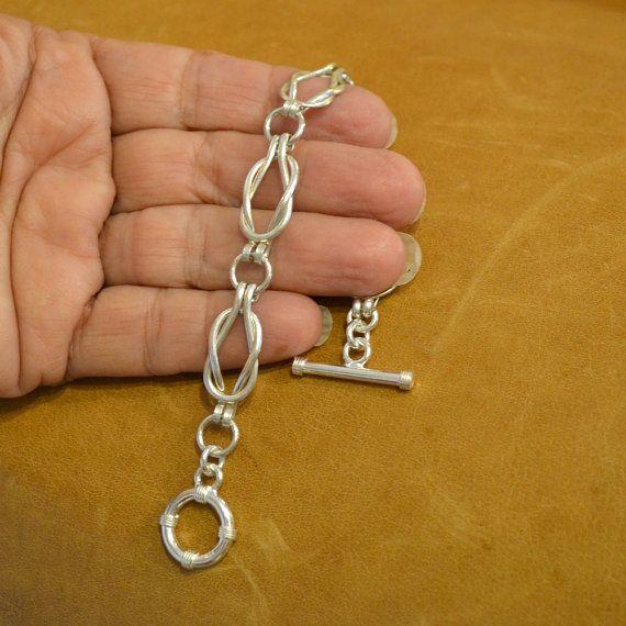 Pulsera de eslabones de plata nudos marineros nudo de amor. pulsera de eslabones…