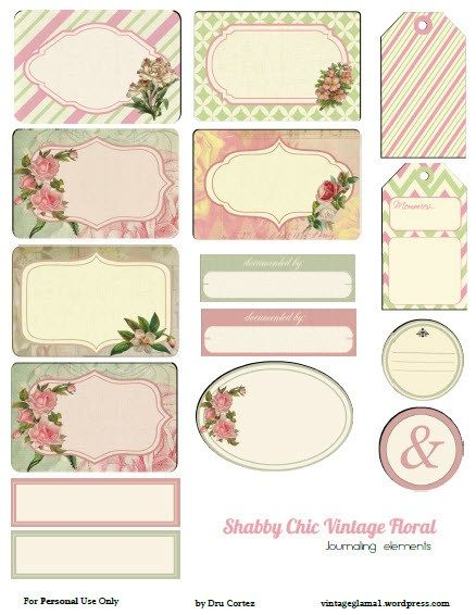 Free Printable Download -  Shabby Chic Floral Journaling Elements