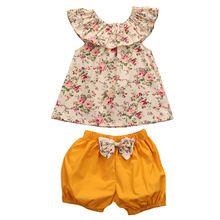 Bebés Chica Floral Verano Ckothing Conjunto Chicos Bonitos Del Bebé Chicas Conjuntos de Ropa Flor T Shirt Tops + Shorts 2 pcs Outfits (China (Mainland))