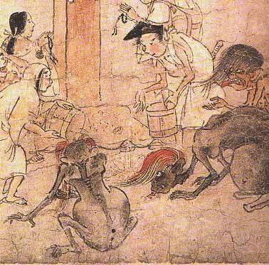 """Japanese ancient art scrolls are some of my favorites.  These are """"gaki, the hungry ghosts"""".  Buddhists believe that they represent evil spirits."""