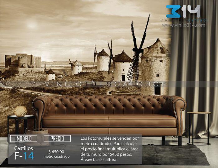 Fotomural-castillo-de-Consuegra-molinos-mural-tapiz-sepia. Decoración de muros y superficies lisas. vinilo314 Guadalajara Mexico. www.vinilo314.com