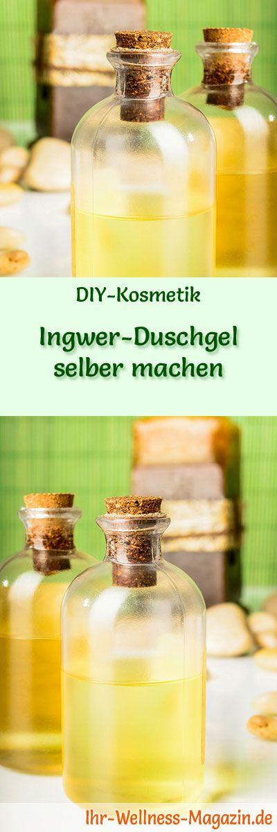Duschgel selber machen - DIY-Kosmetik-Rezept für Ingwer-Duschgel aus nur 4 Zutaten, Ingwer wirkt entkrampfend und wärmend ...