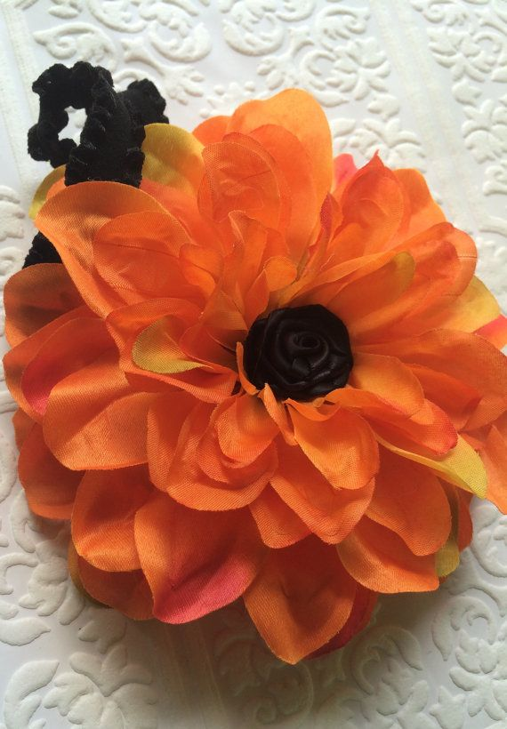 Pumpkin headband black and orange headband orange by BazzyBears