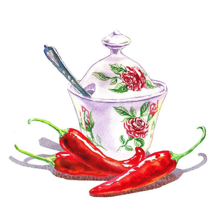 Sugar Bowl With Chili Peppers by Irina Sztukowski