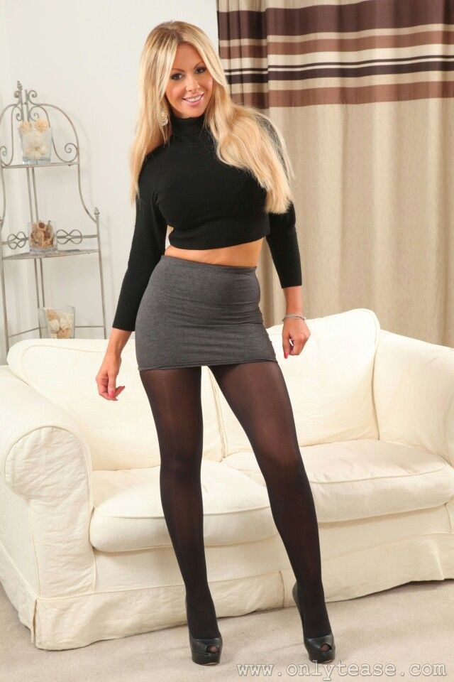 Busty Blonde In Miniskirt, Opaque Tights  Pantyhose And -7642