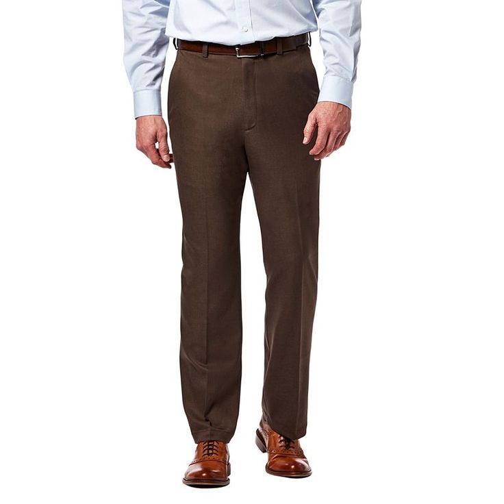 Big & Tall Haggar® Cool 18® PRO Classic-Fit Wrinkle-Free Flat-Front Expandable Waist Pants, Brown Oth