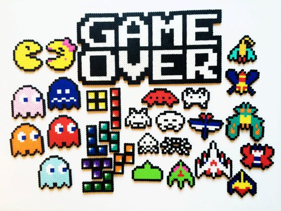 Classic Video Game Perler Sprites Game Over by ShowMeYourBits