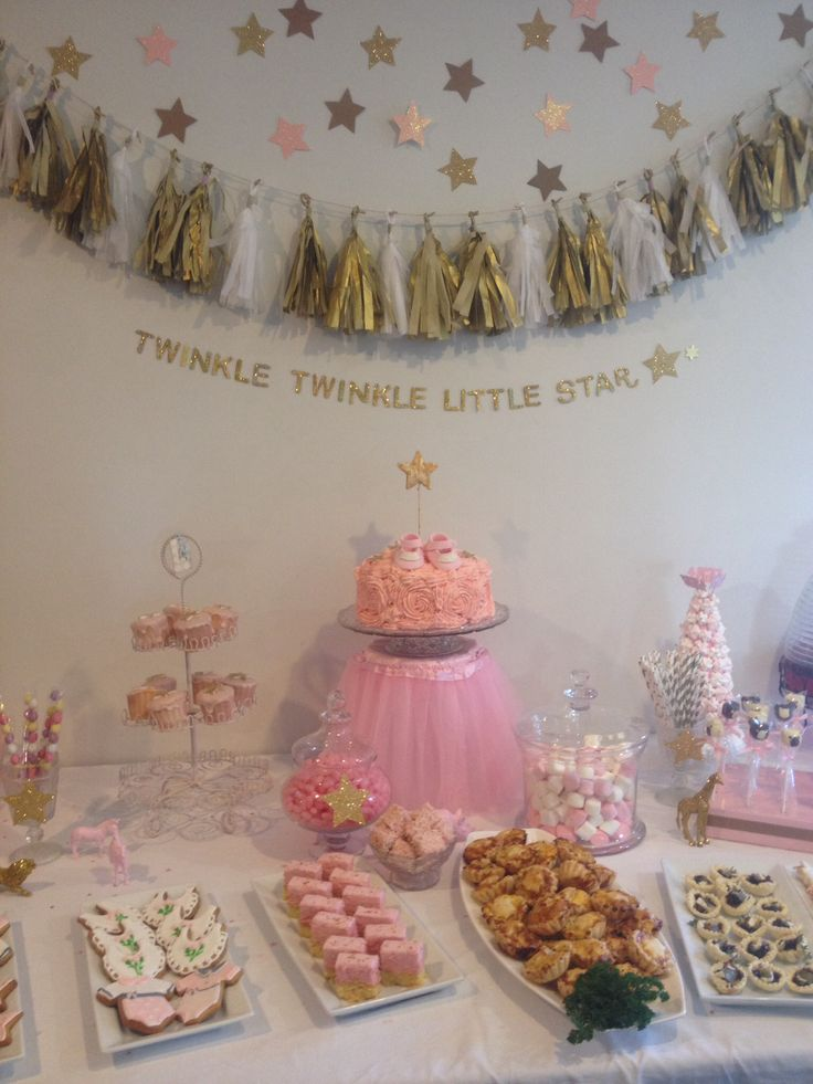154. I did this baby shower for my daughter yesterday after pinning lots of ideas to my 'Theme It - Baby Shower' board. The theme was 'Twinkle, twinkle little star' and the colour scheme was pink, gold and brown-paper. The cake is sitting on a clear upturned bucket with a fairy skirt around it. Tracey van Lent