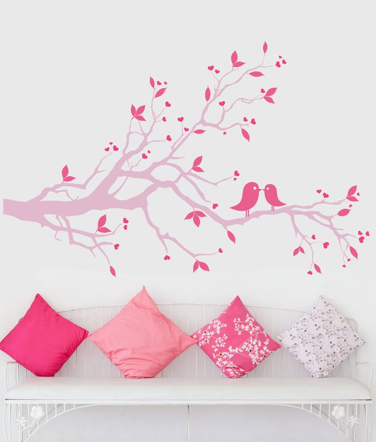 Pink tree branch wall decal pink lovebirds wall art pink wall silhouette deca - Pink wall decor idea ...