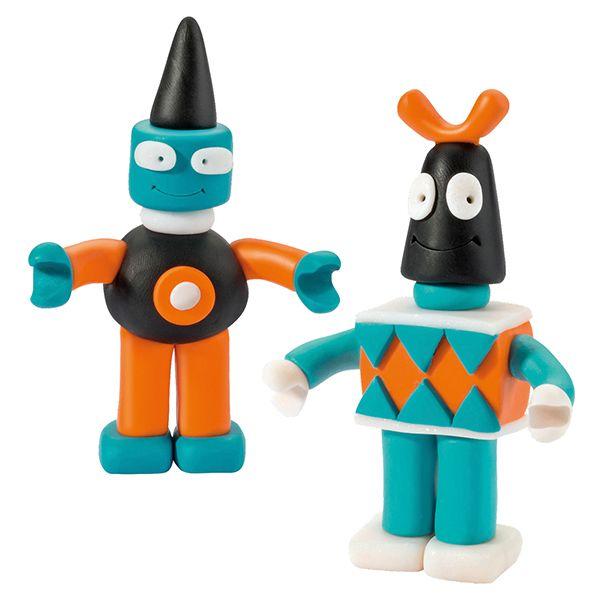 Fimo Kids -pakkauksessa on kaikki tarvikkeet ja kuvalliset ohjeet robottien valmistamiseen.