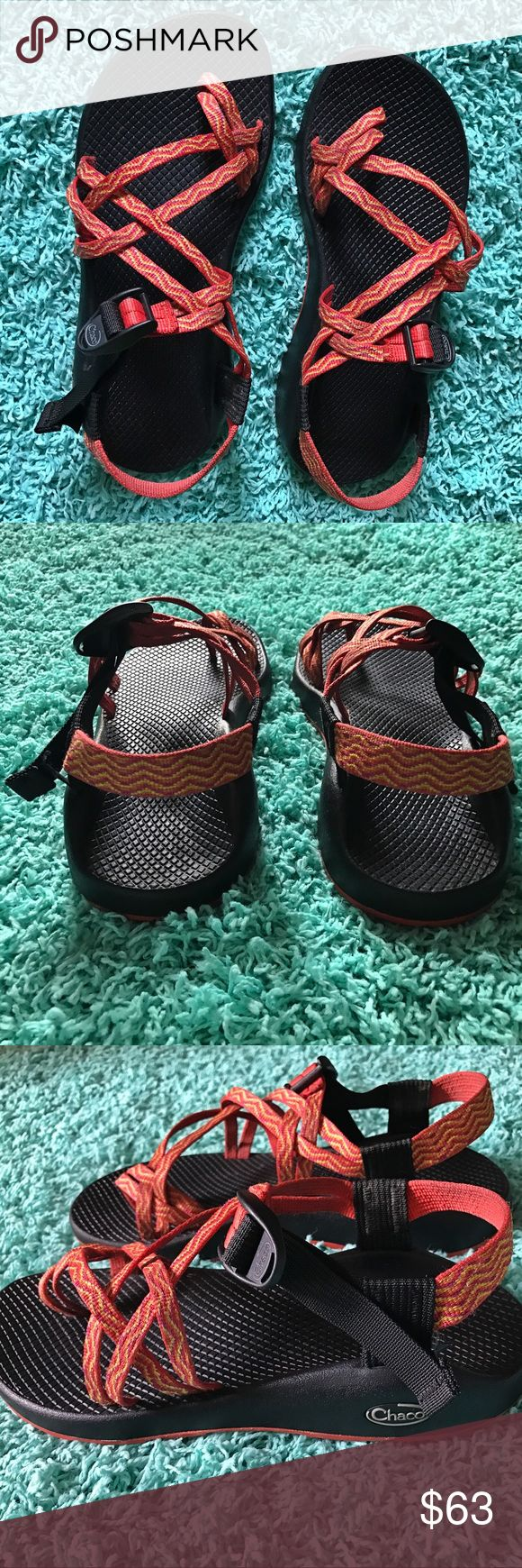 chacos.  orange and yellow chacos, size 9, bought them for a beach trip and barely wore them, excellent condition, original box included. Chaco Shoes Sandals