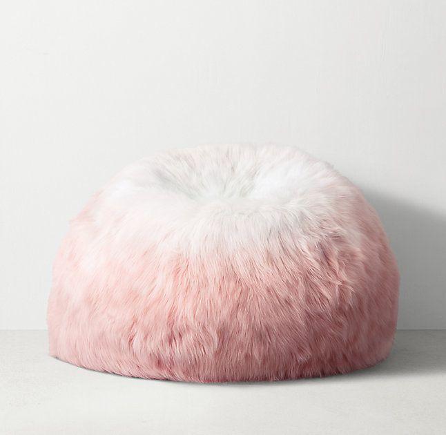 Ombre Kashmir Faux Fur Bean Bag Dusty Rose Faux Fur Bean Bag Fur Bean Bag Rose Gold Bedroom