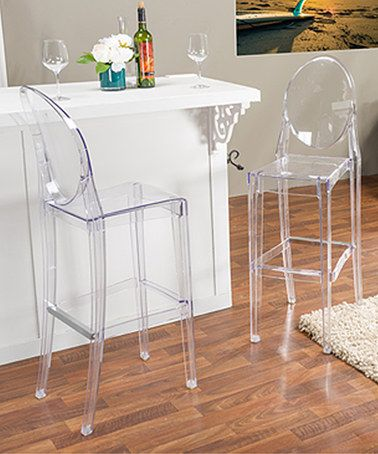 Another great find on #zulily! Clear Contemporary Bar Stool - Set of Two #zulilyfinds