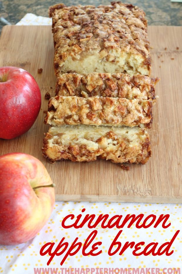 ½ cup brown sugar, 1½ tsp cinnamon, ⅔ cup sugar, ½ cup butter softened, 2 eggs, 2 tsp vanilla, 1½ cups flour, 1½ tsp baking powder, ½ cup milk, 1 apple, peeled and finely chopped. Heat oven to 350'put in loaf pan. Mix brown sugar & cinnamon separate. In mixer, sugar & butter. then eggs & vanilla, then flour & baking powder, then milk. Pour 1/2 batter in pan, 1/2 apples, 1/2 sugar mix. Repeat. Bake for 50 mins. Cool.
