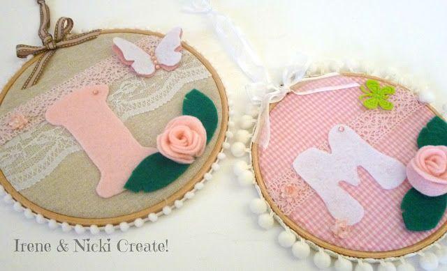 Irene & Nicki Create!  :    Personalised Felt Initial Hoop Art   ...