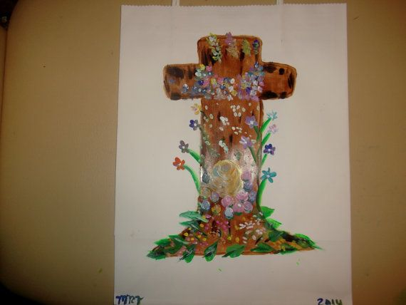 Easter Cross With Flowers Hand Painted Gift Bag by missy69 on Etsy, $9.99