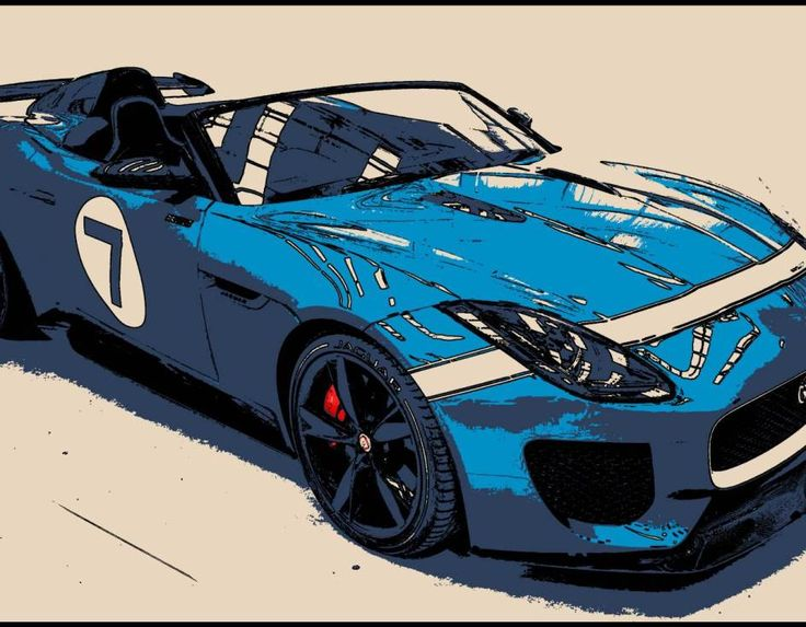 tableau peinture voiture course sport jaguar bleue
