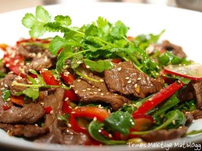 Thaisalat med oksekjøtt, paprika, reddiker, agurk og koriander