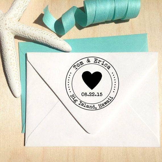 Timbre personnalisé coeur avec date pour Save the par Designkandy