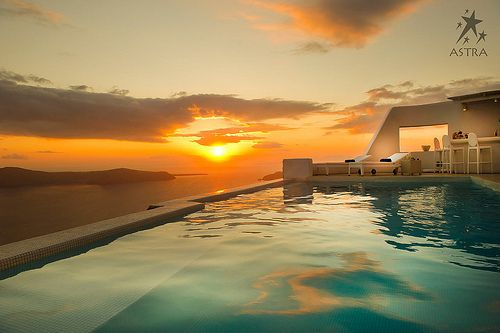 Divine sunset at Astra Suites Pool Area, Imerovigli, Santorini, Greece