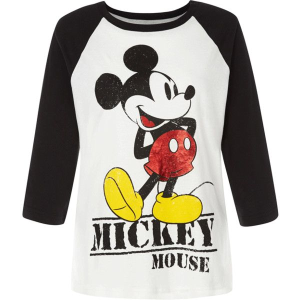 Primark Mickey Mouse Raglan Top, 7 ❤ liked on Polyvore featuring tops, t-shirts, shirts, mickey mouse t shirt, raglan top, t shirts, party t shirts and raglan sleeve top