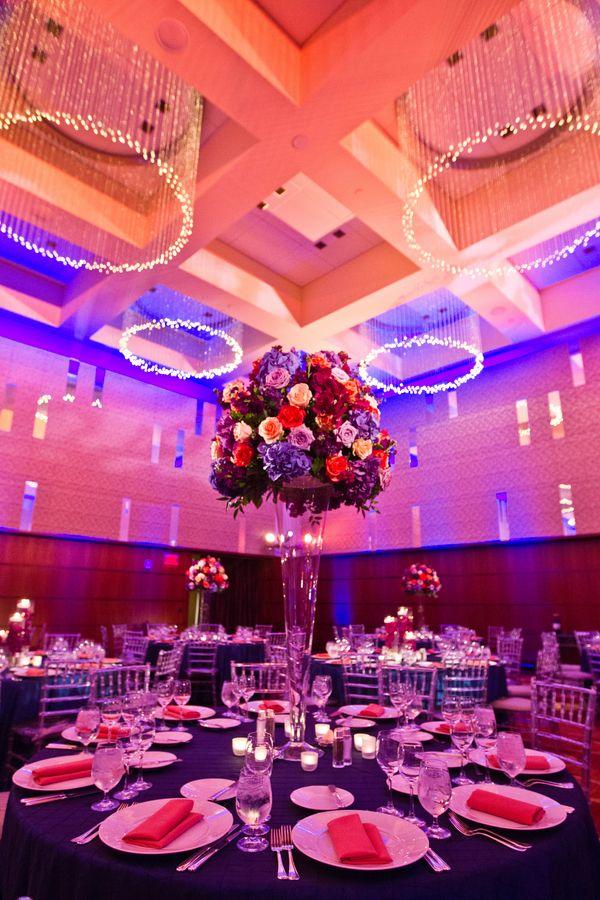 Sunset themed wedding ideas: Tall centerpieces (Under Grace Photo)