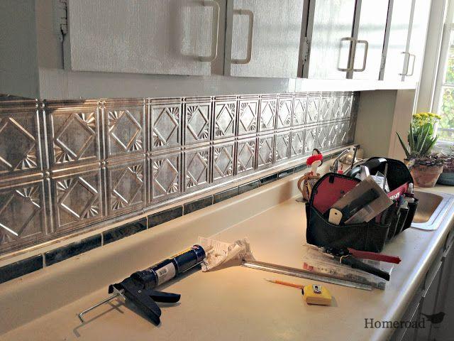 tin ceiling backsplash in kitchen www.homeroad.net | For