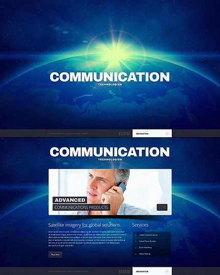 79 best one page website templates images on pinterest templates template 44311 communication company website template pronofoot35fo Choice Image