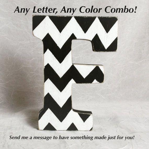 Chevron Letter Distressed Wooden Letter Free by UniquenBoutique