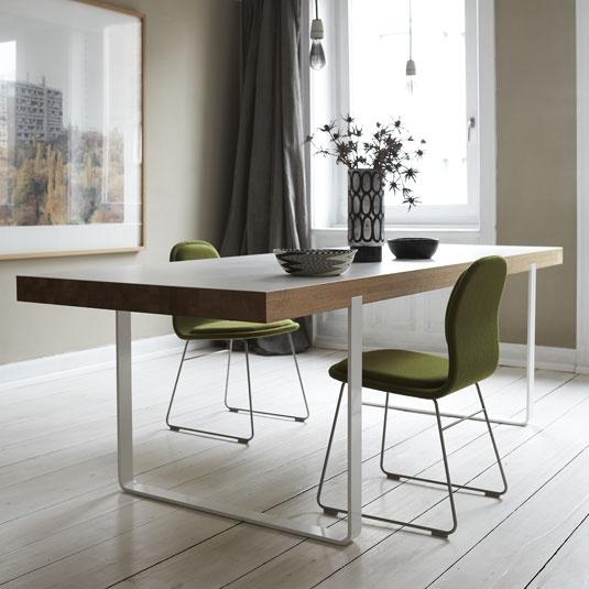 Table; powdercoated steel, oakwood, laminate   Design: Peter Fehrentz
