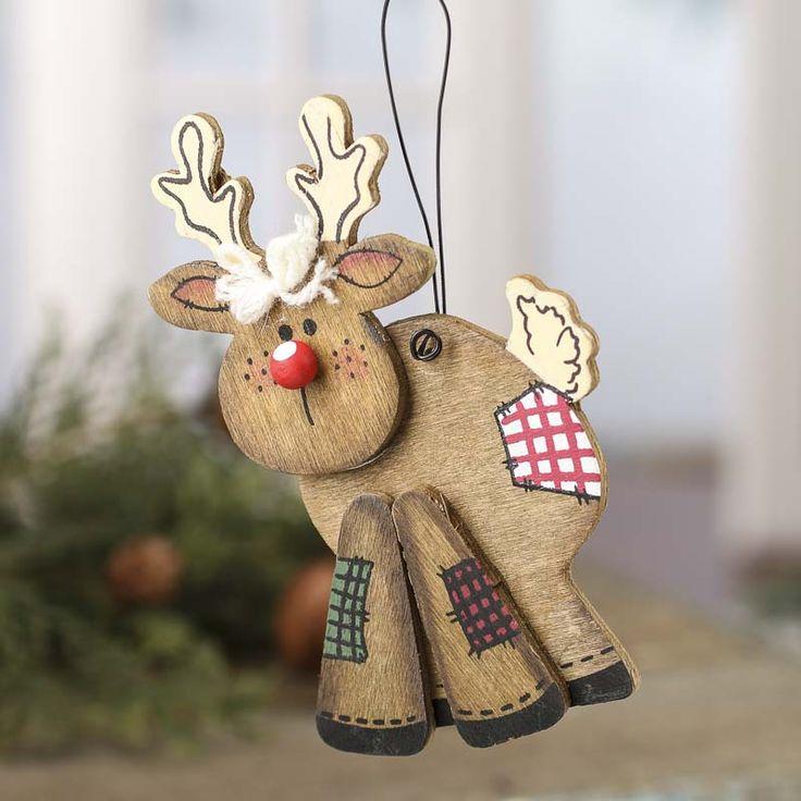 Primitive Wood Reindeer Ornament - Christmas Ornaments ...