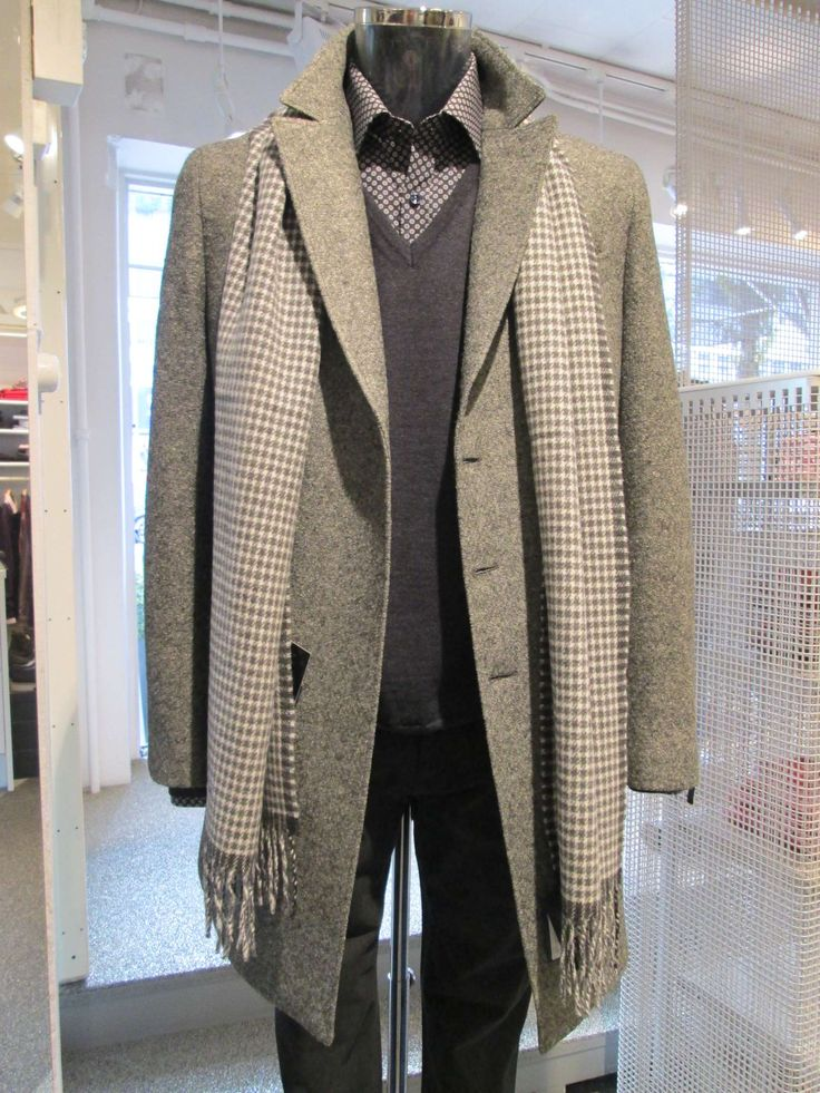 Sand cashmir coat, shirt and pants. Knitwear and scarf from Gant collection for autum '13.