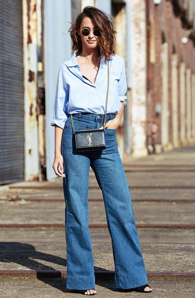 Blue Shirt   Wide-Leg Jeans   Cross-Body Bag @WhoWhatWear