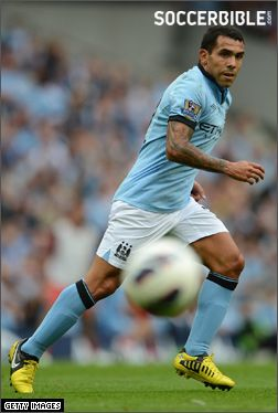 Carlos Tevez (Manchester City FC) and his Nike CTR360 Maestri III