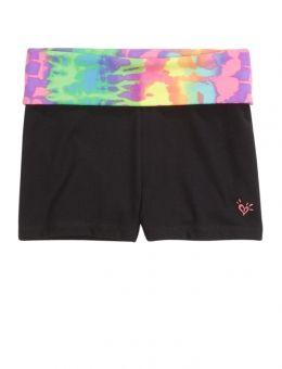 Tie Dye Waistband Yoga Shorts