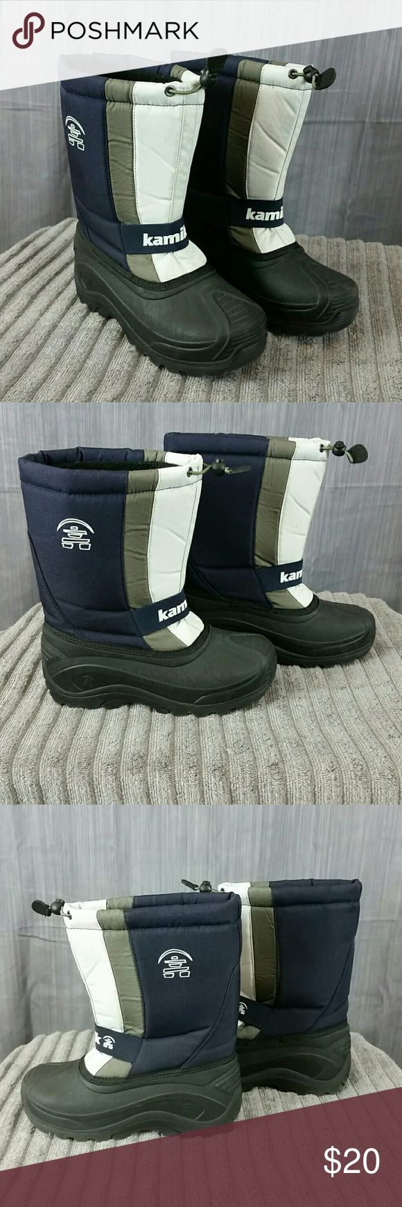 Kamik Insulated Pull-on Women's Snow Boots Sz 6 Very good pre-owned condition!   Each boot does have a tiny spot in the white area. Removable insulated liners.  Very little wear if worn at all!   Color:  Material: blue, gray and white.  Rubber:  black. Kamik Shoes Winter & Rain Boots