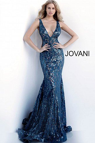 1bdde457820f Teal Low V Neck Embellished Sleeveless Prom Gown 63437 in 2019 ...