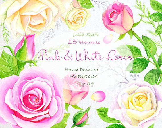 Watercolor Flowers Clipart Roses Wedding Invitation by JuliaSpiri