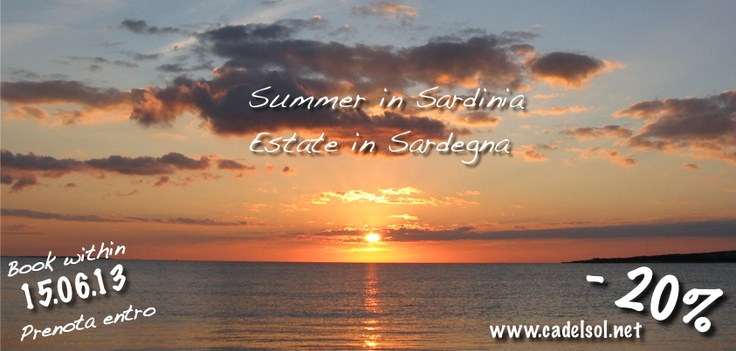 #Summer in #Sardinia -20%OFF book within 15.06 - #Estate in #Sardegna -20% prenota entro 15.06