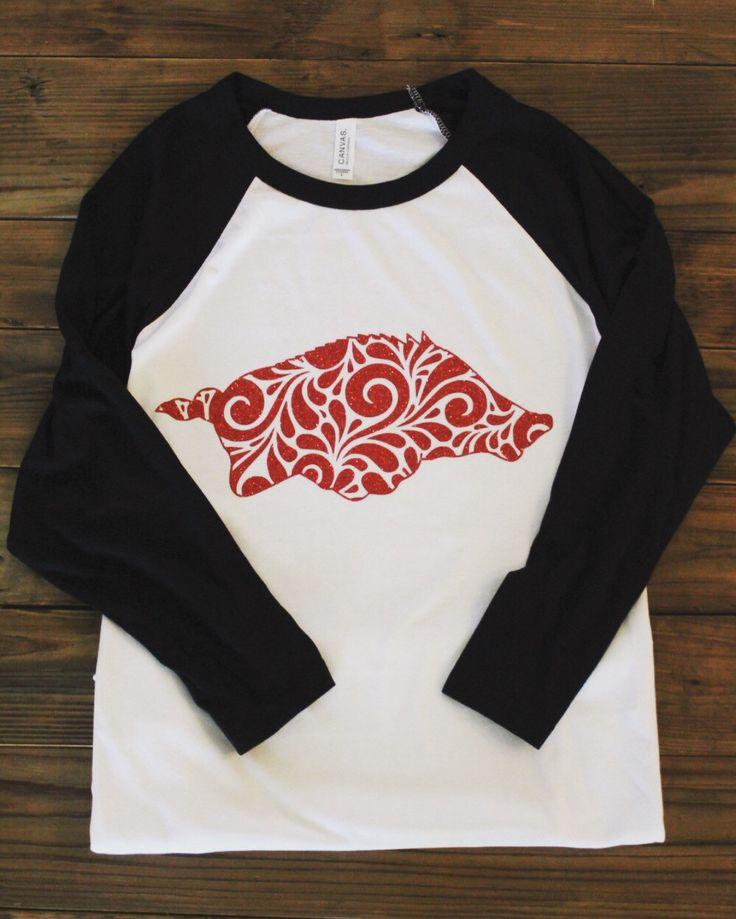 Raglan Hog tee, raglan shirt, baseball shirt, razorback shirt, razorback baseball shirt, raglan razorback shirt, Arkansas Raglan by VinylVibesShop on Etsy