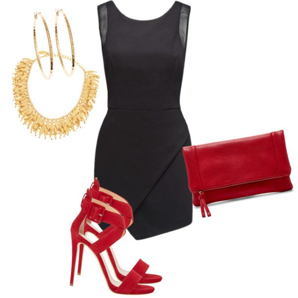 Created in the Polyvore Android app. http://www.polyvore.com/android #iu #black #littleblackdress #homecoming #party #red #gold