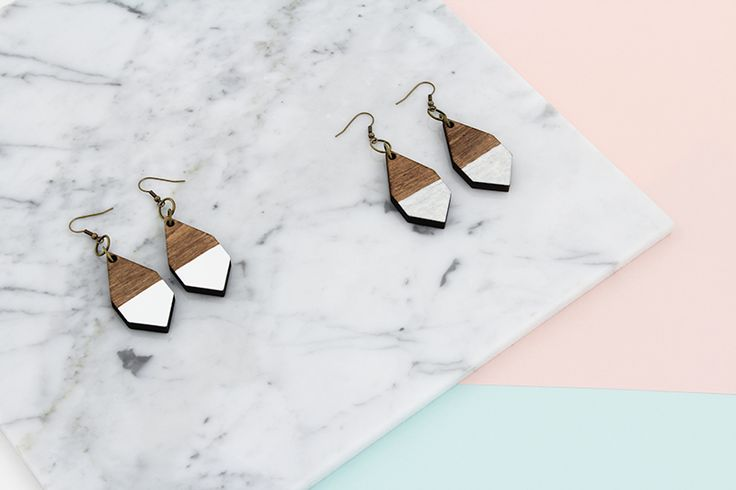 DIAMANTE earrings  in White and Hammered White by MOIMOI Accessories